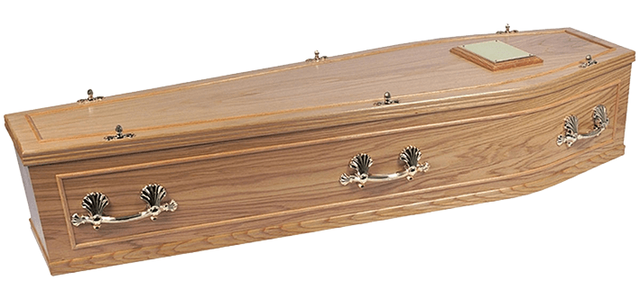 Whitby oak veneer style coffin